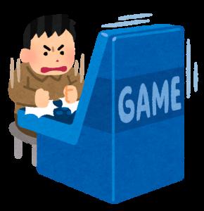 ゲームセンターの筐体を叩く人のイラスト